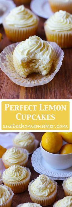 Perfect Lemon Cupcakes are incredibly moist and bursting with freshly squeezed lemon juice and zest. The buttercream frosting has even MORE lemons!