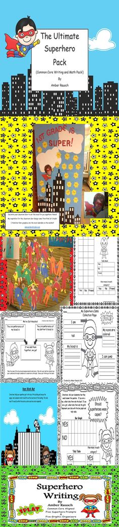 "This pack is a great addition to your ""Back to School Superhero"" theme this fall… Back To School Superhero, Superhero Writing, Superhero Classroom Theme, 2nd Grade Classroom, Classroom Themes, 100 Days Of School, Beginning Of School, School Stuff, First Day Activities"
