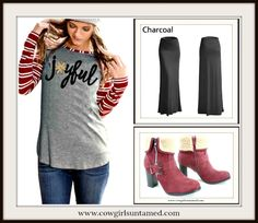 """CHRISTMAS COWGIRL TOP """"Joyful"""" Red Striped Long Sleeve Top  #joyful #bliss #top #shirt #red #Black #maxiskirt #skirt #boots #furboots #winterboots #womens #holidays #christmas #STRIPE #rodeo #nfrfashion #boutique #shopping #fashion #fashionista #grey #gray #cowgirl #fashion  #style #clothing"""