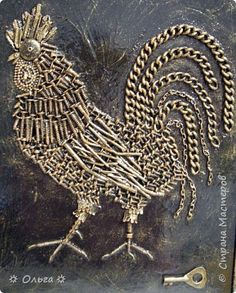 שּ Петух – ключ к богатству שּ Hardware Jewelry, Rooster Art, New Media Art, Mixed Media Canvas, Mixed Media Art, Chicken Art, Found Object Art, Metal Crafts, Metal Art