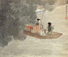 """《大梅诗意图》  清 任熊  北京故宫博物院藏     任熊的绘画艺术继承了明代画家陈洪绶的很多因素。在人物造型上,较陈洪绶的夸张变形又有所区别。""""大梅""""是指号称""""大梅山人""""的晚清诗人姚燮。任熊与姚燮交从甚厚,曾得诗人器重,得以观赏诗人所藏金石字画。"""