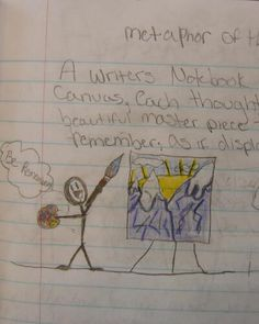"Sixth grader--Ashley--was going for ""Metaphor of the Week,"" but I gave her the ""Mr. Stick of the Week"" based on her simple-but-effective use of a stickman!"