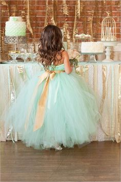Mint Wedding Ideas - Mint Flower Girl Dress with Gold Ribbon
