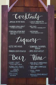 Wedding Menu Wording Drink Selection