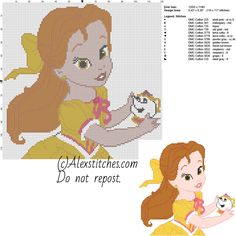 Baby princess Belle Disney free cross stitch pattern 120x118 13 colors