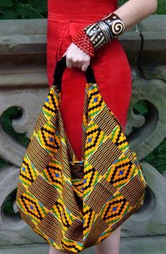 The Rudene Slouch Bag by House of Rubi. I love this funky boho chic Kente slouch bag.