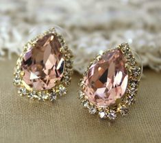 Pink Crystal big teardrop stud earring - 14k plated gold post earrings real swarovski rhinestones .