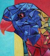 Lorikeet - Fabric mosaic & acrylic painting on wood panel board. Mosaic Birds, Mosaic Art, Mosaic Glass, Stained Glass, Acrylic Paint On Wood, Painting On Wood, Art Curriculum, Baubles And Beads, Mosaic Projects