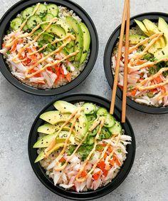 California Sushi Roll Bowls with Cauliflower Rice Meal Prep. California Sushi Roll Bowls with Cauliflower Rice Meal Prep Recipes Deconstructed California sushi roll is served with cauliflower sushi ri. Sushi Recipes, Asian Recipes, Cooking Recipes, Healthy Recipes, Seafood Recipes, Keto Recipes, Turkey Recipes, Heathly Dinner Recipes, Cabbage Recipes