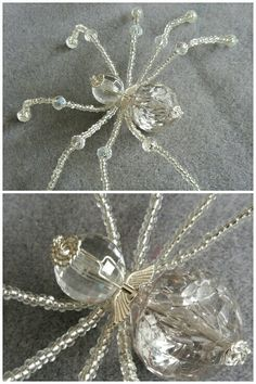 A sparkly big beaded spider just finished, love her angel wing collar - created by PurpleDreamDesign