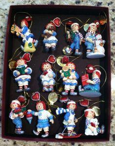 Beautiful ! New In Box-12 Raggedy Ann & Andy -Danbury Mint  Ornaments -Limited