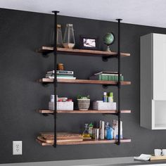 Industrial Wall-Mounted Iron Pipe Bracket DIY Bookshelf Frame - Famous Last Words Iron Pipe Shelves, Pipe Bookshelf, Bookshelf Design, Wall Bookshelves, Wall Mounted Shelves, Bookshelf Ideas, Industrial Wall Shelves, Pipe Shelving, Office Wall Shelves