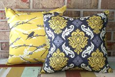 Decorative Pillow Cover Gray & Mustard Yellow Damask 12 x 16 Accent Lumbar