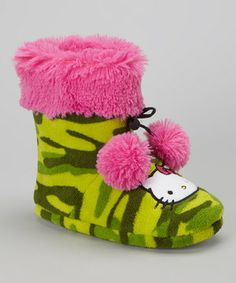 Hello Kitty meets hello comfort in these oh-so cozy slippers. A fetching camo print and lively pom-poms adorn the boot, keeping cuddling up fun and toasty-warm. Hello Kitty House, Slipper Boots, Pink Camo, Camo Print, Pom Poms, Cuddling, Baby Shoes, Coin Purse, Slippers