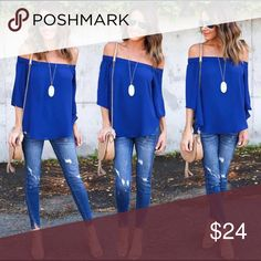Off The Shoulders Royal Blue Blouse Off The Shoulders Royal Blue Blouse. Small = Size 4, Medium = Size 6, Large = Size 8, Extra Large = Size 10. Tops Blouses