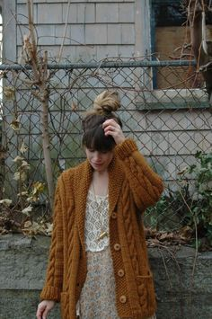 "Dress: thrifted ($4) Sweater: Vintage thrift ($6) Lace vest: Mom's vintage Tights: AA super opaque ""Truffle"" Necklace: Essex Shipbuilding M..."