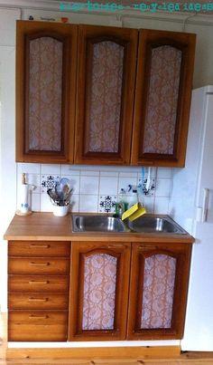 kiertoidea -  recycled ideas: Keittiön kaapit uusiksi d-c fixillä - Renew kitchen cabinets using d-c fix