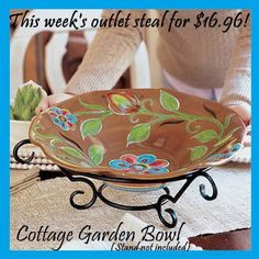 Sshh, I won't tell your mom or your daughter that this gorgeous Cottage Garden handpainted bowl was only $16.96 from our Outlet!!! Hurry while supplies last!!! Go to www.freeproducts.willowhouse.com