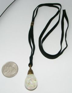 Vintage Horace WELCH 14K gold large Floating OPAL Necklace Original cord 1922