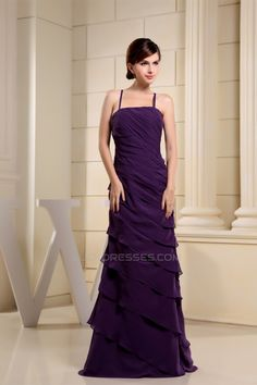Floor-Length Spaghetti Strap Chiffon Tiered Best Bridesmaid Dresses 02010038