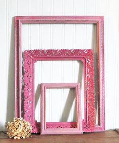 Picture Frames Pink Vintage Upcycled Chalk by HerbgirlAndVintage, $35.00 *****SOLD*****