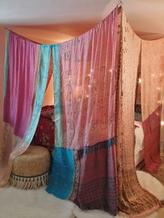 Boho Gypsy Bed Canopy . MADE TO ORDER...3 week creation time Colors on this one are pale pink, baby pink, dark pink, the front panels have teal and turquoise pieces..the top panels (above your head) are very pale pink..with floral patterns..... If you want diff colors let me know ...depending on what I have, it may take longer to create One of a Kind Beauty for your Bedroom, Wedding, Garden Party , Patio, Hippie Meditation Room This is a wonderful canopy sewn with vintage silk saris..The…