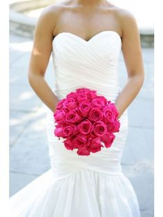 fuschia hot lady rose bridal bouquet