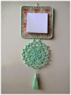 hanging notepad; mint crochet edging, doily, tassel; vintage flowers; wall decoration