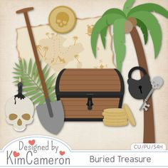 Buried Treasure - Pirate Scavenger Hunt - Layered PSD Templates with PNG by Kim Cameron for Digital Scrapbooking #CUDigitals