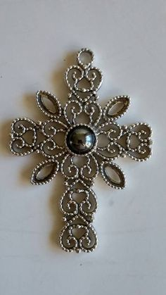 Vintage Silver Tone Filigree Cross Pendant With Faux by QVintage