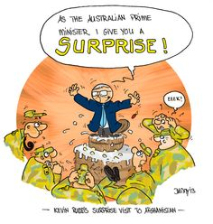 Kevin Rudd visiting the troops as a surprise. #KevinRudd