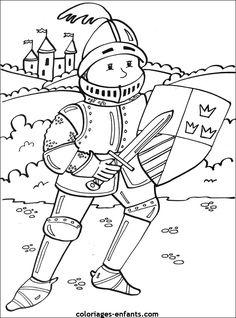 Coloriages et jeux de chevaliers Castle Coloring Page, Abc Coloring Pages, Fairy Tale Theme, Fairy Tales, Castle Crafts, Art Drawings For Kids, Princess Coloring, Printable Crafts, Medieval Art