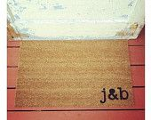 YOUR Custom Initials - Where You Hang Your Hat Doormat - Natural CoCo Fiber Modern Tagged Outdoor Recycled Welcome Mat