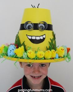 Easy Easter bonnet ideas for boys & girls will ensure your child has a fun Easter hat for the Easter parade, with easy make or buy bonnet ideas for Boys Easter Hat, Easter Bonnets For Boys, Easter Hat Parade, Easter Bunny, Crazy Hat Day, Crazy Hats, Funky Hats, Spring Hats, Hat Crafts