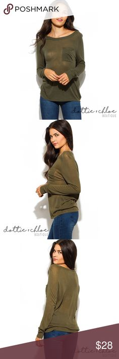 long sleeve semi-sheer sweater knit top w/ pocket Details coming soon... Check back on September 30th when this item is available for sale! dottie + chloe Sweaters Crew & Scoop Necks