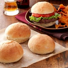I cook for three men who love burgers. These 40 minute homemade hamburger buns are just right for their big appetites. I also serve this 40 minute hamburger bun —Jessie McKenney, Twodot, Montana Homemade Burger Buns, Homemade Hamburgers, Homemade Bread Buns, The Best Burger, Cooking For Three, Cooking Recipes, Cooking Tips, Cooking Food, Cooking Classes