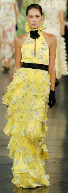 Pin for Later: 71 Iconic Runway Looks That Show the True Spirit of Ralph Lauren Spring 2007 Victorian ruffles met a modern silhouette — and eye-popping color — for Spring. Couture Fashion, Runway Fashion, Fashion Show, Fashion Outfits, Fashion Weeks, Ralph Lauren Style, Ralph Lauren Collection, Beautiful Gowns, Beautiful Outfits