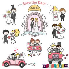 INSTANT DOWNLOAD Cute Cartoon Wedding Couple by SasiyaDesigns, $5.00