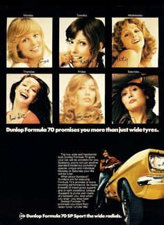 Old ad from 1972 for Dunlop tires. #old #vintage #retro #advertising #tires #automotive #sexist #sexism