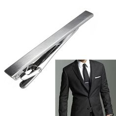 Mens Slide on Tie Clip Bar Clasp Silver - Pin Plain Wedding Clips for sale online Glitch, Gentleman, Target, Wedding Clip, Skinny Ties, Silver Man, Bar, Best Sellers, Mens Fashion