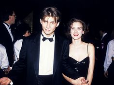 "Vintage Oscar Photos | YOUNG LOVE | Hollywood's one-time ""It"" couple and Heathers costars Christian Slater and Winona Ryder are the cool kids attending the 1989 Governors Ball."