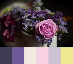 Pantone's Ultra Violet pairs perfectly with the pastels in this floral based color palette.   #pantone #ultraviolet