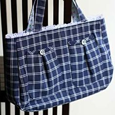 Tote ideas - i like the pockets to add some buttons and i like the lace trip on the top :)
