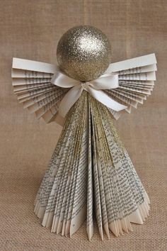 Another Paper Angel Ornament Angel Crafts, Book Crafts, Christmas Projects, Holiday Crafts, Paper Crafts, Handmade Christmas Crafts, Christmas Angels, Christmas Art, All Things Christmas
