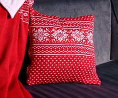 Knitted cushion. Red - white. Knitted Cushions, Red And White, Throw Pillows, Toss Pillows, Cushions, Knitted Pillows, Decorative Pillows, Decor Pillows, Scatter Cushions