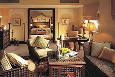 Modern Egyptian Houses | egyptian interior design with wooden living room furniture