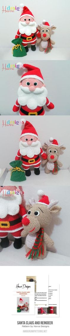 Santa Claus And Reindeer Amigurumi Pattern