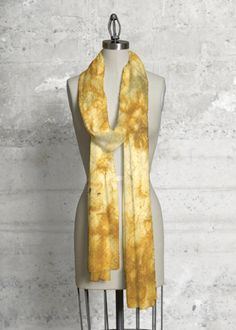Amarillo Washi Wrap - This scarf made with soft, luxurious fabric will add a bold, modern statement to any wardrobe. #fashion #scarf #yellow #dye #handmadepaper #washi #japanesepaper
