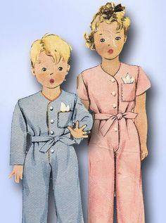 1940s Vintage WWII One Piece Tot Pajamas 1942 McCall Sewing Pattern Sz 4 #McCall