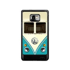 Cute kawaii blue mini bus volkswagen with chrome logo samsung galaxy S2 case ( white / Black Color Case ). $17.89, via Etsy.